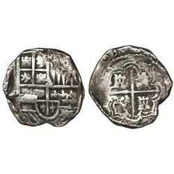 Potosi, Bolivia, cob 2 reales, (1)630T, 4R-sized shield, rare.