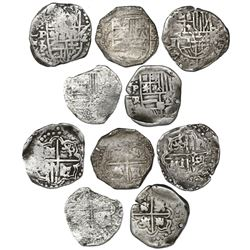Lot of five Potosi, Bolivia, cob 2 reales, Philip IV, assayers T, P and TR (1620s-1630s).
