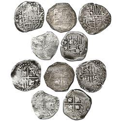 Lot of five Potosi, Bolivia, cob 2 reales, Philip IV, assayers T, P and TR (1620s-1630s).
