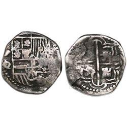 Potosi, Bolivia, cob 1 real, Philip III, assayer Q/R, rare.