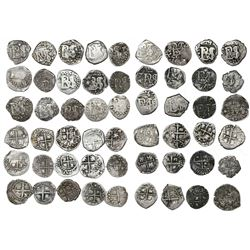 Large study collection of 27 Potosi, Bolivia, cob 1/2R, Philip IV, no assayer, legends showing eithe
