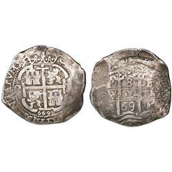 Potosi, Bolivia, cob 8 reales, 1669E.