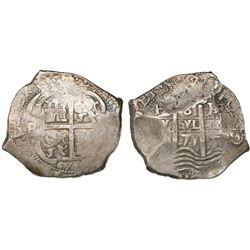 Potosi, Bolivia, cob 8 reales, 1671/0E.