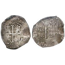 Potosi, Bolivia, cob 8 reales, 1673E, encapsulated NGC VF 30.