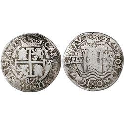Potosi, Bolivia, cob 8 reales Royal, 1687VR.