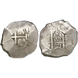 Potosi, Bolivia, cob 8 reales, 1701Y, encapsulated NGC VF 20.