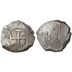 Potosi, Bolivia, cob 8 reales, 1742C/P, rare.