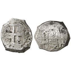 Potosi, Bolivia, cob 8 reales, 1754C+q, rare.