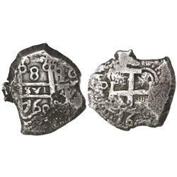 Potosi, Bolivia, cob 8 reales, 1760q-(Y), rare.