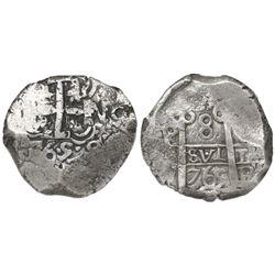 Potosi, Bolivia, cob 8 reales, 1765V-Y, encapsulated NGC VF 35.