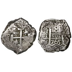 Potosi, Bolivia, cob 8 reales, 1765(V)-Y.