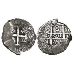 Potosi, Bolivia, cob 8 reales, 1766V-Y-V, ex-Almanzar.