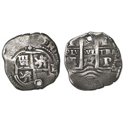 Potosi, Bolivia, cob 4 reales, 1657E, pomegranate above cross.