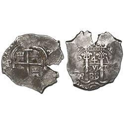 Potosi, Bolivia, cob 4 reales, 1688VR.