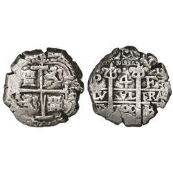 Potosi, Bolivia, cob 4 reales, 1700F.