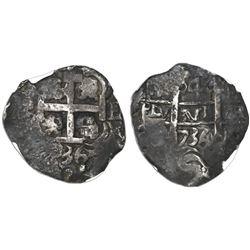 Potosi, Bolivia, cob 4 reales, 1736E, encapsulated NGC VF 35.