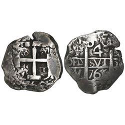 Potosi, Bolivia, cob 4 reales, 1766V-Y.