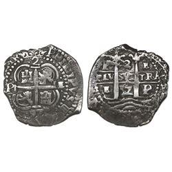 Potosi, Bolivia, cob 2 reales, 1657E.