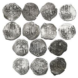 Lot of seven Potosi, Bolivia, cob 2 reales of Philip IV, assayer E, all dated, as follows: 1654, 165