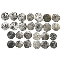 Near-complete date-run of 13 Potosi, Bolivia, cob 2 reales of Philip IV, assayer E, as follows: 1653