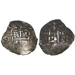 Potosi, Bolivia, cob 2 reales, 1671/0E, rare overdate.