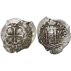 Potosi, Bolivia, cob 2 reales, 1683V.