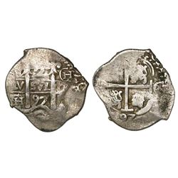 Potosi, Bolivia, cob 2 reales, 1697CH, rare.