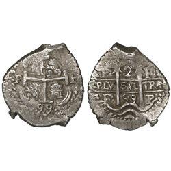 Potosi, Bolivia, cob 2 reales, 1699F.