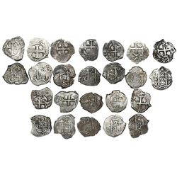 Lot of twelve Potosi, Bolivia, cob 2 reales of Philip V (pre-Louis I), assayer Y, all dated, as foll