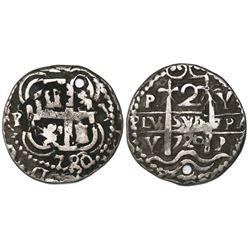 Potosi, Bolivia, cob 2 reales Royal, 1720Y, very rare.