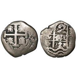 Potosi, Bolivia, cob 2 reales, 1727Y, Louis I.