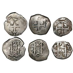 Lot of three Potosi, Bolivia, cob 2 reales of Louis I (not visible), assayer Y, dated 1725, 1726 and