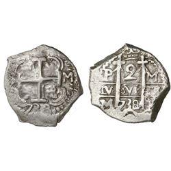 Potosi, Bolivia, cob 2 reales, 1738/7M, unique.
