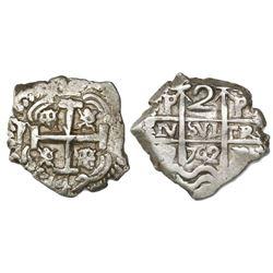 Potosi, Bolivia, cob 2 reales, 1742P.