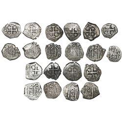 Lot of ten Potosi, Bolivia, cob 2 reales, Philip V, all dated, as follows: 1740P, 1741P, 1742P, 1742