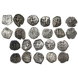 Lot of eleven Potosi, Bolivia, cob 2 reales of Charles III, all dated, assayers V-Y (where visible),