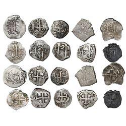 Lot of ten Potosi, Bolivia, cob 2 reales, various dates and assayers (all visible): 1671E, 1679C, 16