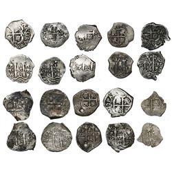 Lot of ten Potosi, Bolivia, cob 1R of Charles II, all dated, as follows: 1668E (2), 1670E, 1679C, 16