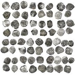 Near-complete date-run of 33 Potosi, Bolivia, cob 1R of Charles II, as follows: 1667E, 1668E, 1669E,