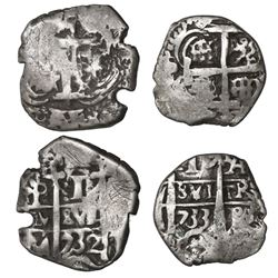 Lot of two Potosi, Bolivia, cob 1R of assayer YA (rare), dated 1732 and 1733.