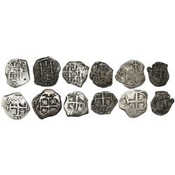 Lot of six Potosi, Bolivia, cob 1R of Philip V, all dated, as follows: 1723Y, 1730M, 1737E (2), 1740