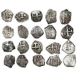 Near-complete date-run of ten Potosi, Bolivia, cob 1R of Charles III, assayers V & Y (where visible)