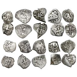 Lot of ten Potosi, Bolivia, cob 1/2R, various dates (all visible), as follows: 1670, 1675, 1693, 173