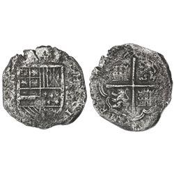 Cartagena, Colombia, cob 8 reales, Philip IV, assayer not visible ( E) below mintmark RN to left (la