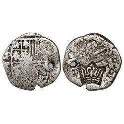 "Guatemala, 2 reales ""moclon,"" crown countermark (1662) on a Potosi, Bolivia, cob 2 reales, Philip IV"