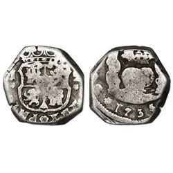 Guatemala, cob 2 reales, 1735/4J, ex-Richard Stuart.