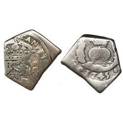Guatemala, cob 2 reales, 1745(J), rare, ex-Richard Stuart.