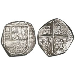 Seville, Spain, cob 4 reales, 1593 date to right, assayer B to left.