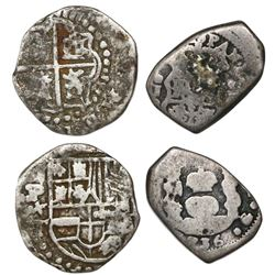 Lot of two Spanish colonial cob 1R: Potosi Philip III assayer T (ca. 1620) and Guatemala 1736J.