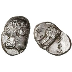 Attica, Athens, AR tetradrachm,  owl,  late mass coinage issue ca. 393-294 BC